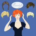 Beautiful girl and a set of hairstyles with red blond brown hair Stock Photography