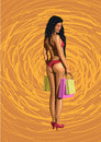 Beautiful girl sexy hot woman from shopping with packages pack s Royalty Free Stock Photo