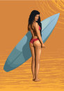 Beautiful girl sexy hot woman surfer, surfing, with surfboard, s Royalty Free Stock Photo