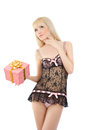 Beautiful girl in sexy pink lingerie with gift box Royalty Free Stock Photo