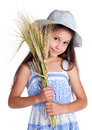 Beautiful girl with sheaf of wheat Stock Photography