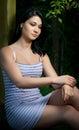 Beautiful Girl Sitting Railing Summer Gazebo.
