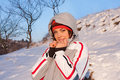 Beautiful girl in a ski sport suit in the snow Stock Photography