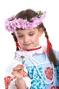 Beautiful girl in slavic costume and garland Stock Photos