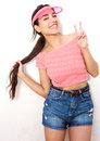 Beautiful girl smiling with peace hand sign Royalty Free Stock Photo