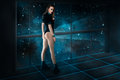 Beautiful girl on spaceship board in space Royalty Free Stock Photo