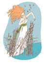 Beautiful girl staying in water illustration folk dressed redhead reeds Stock Photos