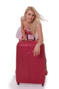 The beautiful girl with a suitcase isolated on white Royalty Free Stock Photo