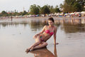 Beautiful girl sunbathes Royalty Free Stock Image
