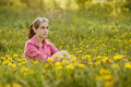 Beautiful girl with sunglasses in dandelion field Royalty Free Stock Photo