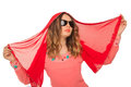 Beautiful girl in sunglasses and red cloth on a white background Royalty Free Stock Image