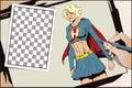 Beautiful girl superhero. Stock illustration.