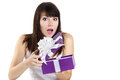 Beautiful girl surprise gift receives on white background Royalty Free Stock Photos