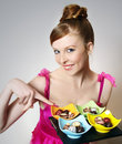 Beautiful girl with sweets Stock Image