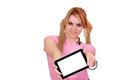 Beautiful girl with tablet pc Stock Image
