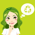 Beautiful girl thinking green recycling idea concept Stock Photo