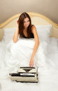 Beautiful girl with a typewriter. Royalty Free Stock Photo