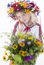 Beautiful girl in ukrainian ethnic clothing young colorful Royalty Free Stock Photos