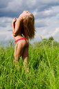 The beautiful girl in underwear in the field Royalty Free Stock Photography