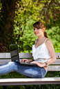 Beautiful girl using laptop Royalty Free Stock Images