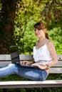 Beautiful girl using laptop Royalty Free Stock Images