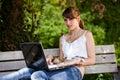 Beautiful girl using laptop Stock Photography