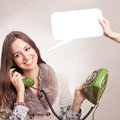 Beautiful girl using old green phone Royalty Free Stock Photo
