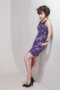Beautiful girl in a violet dress Stock Image