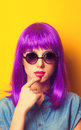 Beautiful girl with violet hair Royalty Free Stock Photo