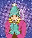Beautiful girl in warm hat and gloves holding hot drink. Winter warmup concept retro comic pop art style