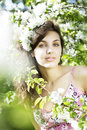 Beautiful girl was blossoming garden Stock Image