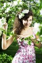 Beautiful girl was blossoming garden Royalty Free Stock Photos