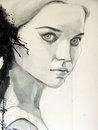 Beautiful girl watercolor illustration of Stock Photos