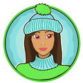 Beautiful girl wearing hat asian on blue background Royalty Free Stock Images