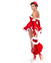 Beautiful girl wearing santa claus clothes sexy Royalty Free Stock Photo