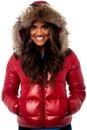 Beautiful girl wearing winter jacket Royalty Free Stock Photo