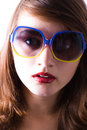 Beautiful girl wears sunglasses Stock Photos