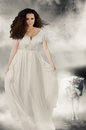 Beautiful girl in white dress with white wolf. Book cover