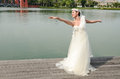 Beautiful girl in white gown of the bride dance Royalty Free Stock Photos