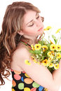 Beautiful girl with wild flower. Stock Photography