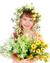 Beautiful girl with  wild flower. Stock Photos