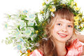 Beautiful girl with  of wild flower on head. Royalty Free Stock Photography
