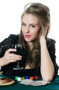 The beautiful girl with wine glass Royalty Free Stock Images