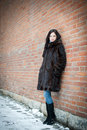 Beautiful girl in winter against a brick wall. Stock Photos