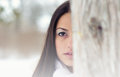 Beautiful girl in the winter forest portrait of Royalty Free Stock Photography