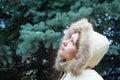 Beautiful girl in a winter jacket Stock Photos