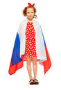 Beautiful girl wrapped in a flag of Russia Royalty Free Stock Photo