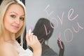 Beautiful girl written on a mirror in lipstick, I