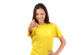 Beautiful girl with yellow t shirt pointing in front to you young woman signing isolated on white Stock Images
