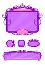Beautiful girlish violet game user interface Royalty Free Stock Photo